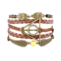 Combined Bracelet, Zinc Alloy, owl & wing & harry potter, with PU & Wax Cord & Plastic Pearl, with 1.9Inch extender chain, antique bronze color plated, braided & 4-strand, coffee color, nickel, lead & cadmium free, 170mm, Length:Approx 6.6 Inch, Sold By Strand
