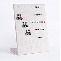 Linen Earring Stud Display Board, with Wood, Rectangle, beige, 203x83x243mm, Sold By PC