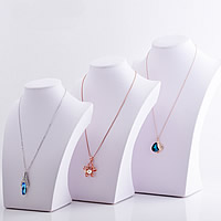 PU Necklace Display, with Wood, different size for choice, white, Sold By PC