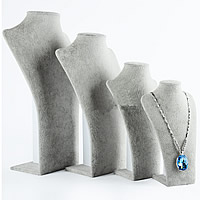 Velveteen Necklace Display, with Wood, Bust, different size for choice, silver-grey, Sold By PC