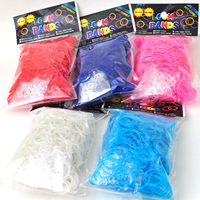 Loom Bands, Rubber, with Plastic, transparent & luminated, mixed colors, 18x2mm, 600PCs/Bag, Sold By Bag