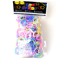 Loom Bands, Rubber, with Plastic, transparent & colorful powder, mixed colors, 18x2mm, 600PCs/Bag, Sold By Bag