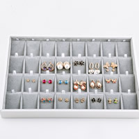 Velveteen Earring Display, with Wood, Rectangle, silver-grey, 350x240x40mm, Sold By PC
