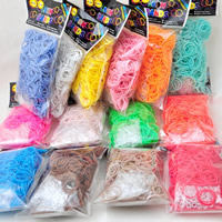 Loom Bands, Rubber, with plastic C clasp or S clasp & DIY & for children & luminated & solid color, mixed colors, 2mm, 600PCs/Bag, Sold By Bag