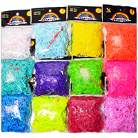 Loom Bands, Rubber, with Plastic, synthetic, attachted crochet hook & with plastic S clip & for children, mixed colors, 1mm,16mm, 600PCs/Bag, Sold By Bag
