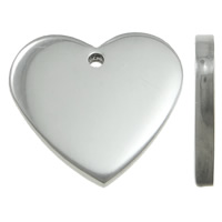 Stainless Steel Tag Charm, Heart, laser pattern & Customized, original color, 17x16x2mm, Hole:Approx 1.5mm, 50PCs/Bag, Sold By Bag