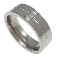 Rhinestone Stainless Steel Finger Ring, with rhinestone, original color, 7mm, Size:10, Sold By PC