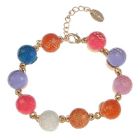 Crystal Bracelets, Brass, with Crystal, with 1.5lnch extender chain, Round, real rose gold plated, faceted & colorful powder, multi-colored, nickel, lead & cadmium free, 14x10x11mm, Length:Approx 6 Inch, Sold By Strand