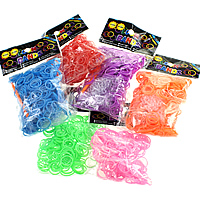 Loom Bands, Rubber, platinum color plated, attachted crochet hook & with plastic S clip, more colors for choice, nickel, lead & cadmium free, 1.3mm, 12x6x2mm, 83x6x4mm, 600PCs/Bag, Sold By Bag