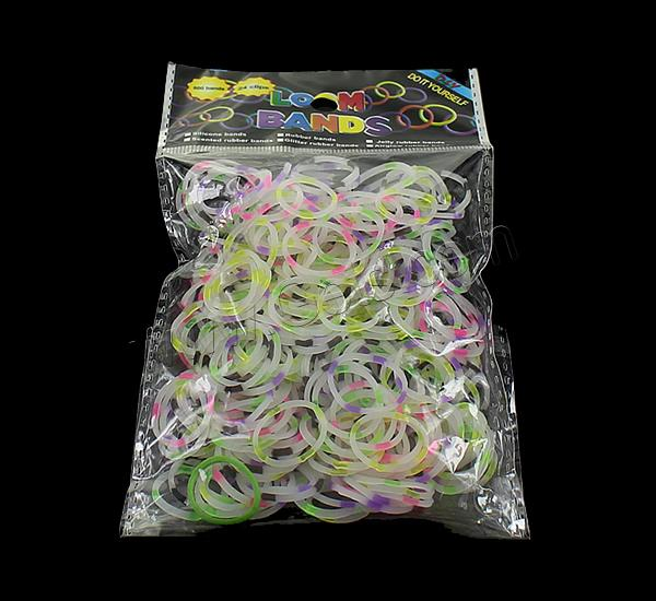 Loom Bands, Rubber, platinum color plated, attachted crochet hook & with plastic S clip & transparent & two tone, mixed colors, nickel, lead & cadmium free, 1.3mm, 12x6x2mm, 83x6x4mm, 600PCs/Bag, Sold By Bag