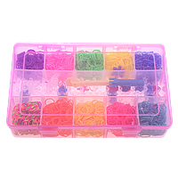 Colorful Loom Kit, Rubber, loom board & loom clip & loom crochet hook & pendant, with Plastic, mixed colors, 275x16x5x55mm, 140x23x10mm, 14-23x20-25x2mm, 1.3mm, Approx 2000PCs/Box, Sold By Box