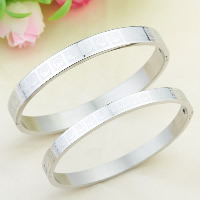 Titanium Steel Couple Bangle, Oval, for couple, original color, 6mm, 8mm, Inner Diameter:Approx 56x50mm, 63x54mm, Length:Approx 7 Inch, Approx 8 Inch, Sold By Pair