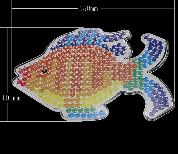 Plastic DIY Fuse Pegboards Set, DIY fuse pegboards & fuse beads template, Fish, for 5mm DIY fuse beads & transparent, 150x101x6mm, 1.5mm, Sold By PC