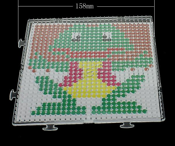 Plastic DIY Fuse Pegboards Set, DIY fuse pegboards & fuse beads template, Frog, for 5mm DIY fuse beads & transparent, 158x158x6.5mm, 1.5mm, Sold By PC
