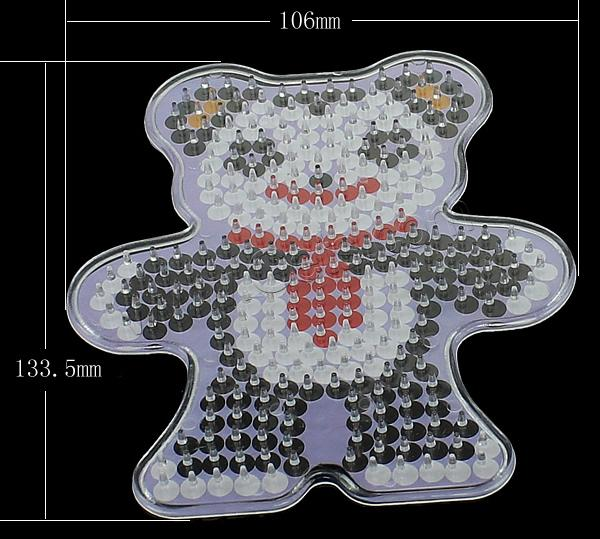 Plastic DIY Fuse Pegboards Set, DIY fuse pegboards & fuse beads template, Panda, for 5mm DIY fuse beads & transparent, 106x133.5x6mm, 2mm, Sold By PC