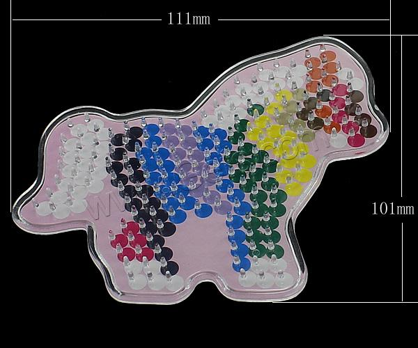 Plastic DIY Fuse Pegboards Set, DIY fuse pegboards & fuse beads template, Horse, for 5mm DIY fuse beads & transparent, 111x101x5mm, 2mm, Sold By PC