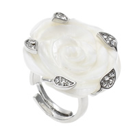 Shell Finger Ring, Brass, with White Shell, Flower, platinum color plated, adjustable & with rhinestone, nickel, lead & cadmium free, 28x28x27mm, US Ring Size:6.5, Sold By PC