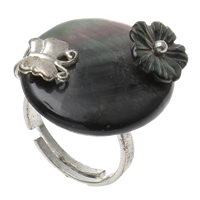 Shell Finger Ring, Brass, with Black Shell, Oval, platinum color plated, adjustable, nickel, lead & cadmium free, 22x25x29mm, US Ring Size:6.5, Sold By PC