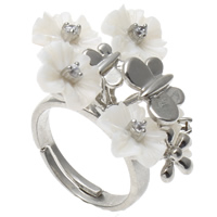 Shell Finger Ring, Brass, with White Shell, Flower, platinum color plated, adjustable & with rhinestone, nickel, lead & cadmium free, 30x26x33mm, US Ring Size:7.5, Sold By PC