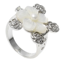 Shell Finger Ring, Brass, with pearl & White Shell, Flower, platinum color plated, nickel, lead & cadmium free, 26x22x28mm, US Ring Size:7.5, Sold By PC