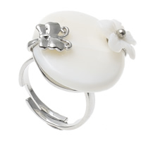 Shell Finger Ring, Brass, with White Shell, Flower, platinum color plated, adjustable, nickel, lead & cadmium free, 23x25x31mm, US Ring Size:7.5, Sold By PC