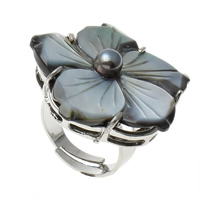 Shell Finger Ring, Brass, with Black Shell, Flower, platinum color plated, adjustable, nickel, lead & cadmium free, 32x32x30mm, US Ring Size:9, Sold By PC