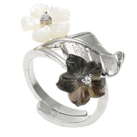 Shell Finger Ring, Brass, with Black Shell & White Shell, Flower, platinum color plated, adjustable & with rhinestone, nickel, lead & cadmium free, 26x20x23mm, US Ring Size:7.5, Sold By PC