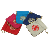 Linen Jewelry Pouches, with Nylon Cord, Rectangle, Embroidery, more colors for choice, 115x142x3mm, Sold By PC