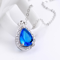 comeon® Jewelry Necklace, Brass, with 2lnch extender chain, Teardrop, platinum plated, oval chain & with cubic zirconia, blue, 13x24mm, Length:Approx 17 Inch, Sold By Strand