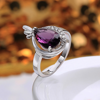comeon® Finger Ring, Brass, Teardrop, platinum plated, different size for choice & with cubic zirconia, purple, 13x20mm, Sold By PC