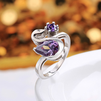 comeon® Finger Ring, Brass, Swan, platinum plated, different size for choice & with cubic zirconia, purple, 15x16mm, Sold By PC
