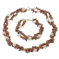 Jewelry Gift Sets, Freshwater Pearl, bracelet & necklace, with Goldstone, brass spring ring clasp, natural, two tone, 10-11mm, 2.5-9mm, Length:Approx 8.5 Inch, Approx 19.5 Inch, Sold By Set