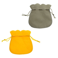 Velvet Jewelry Pouches, Velveteen, with Nylon Cord, more colors for choice, 103x130x0.5mm, Sold By PC