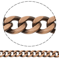 Aluminum Curb Chain, antique copper color plated, brushed, nickel, lead & cadmium free, 16x28x4mm, Sold By m