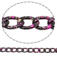 Aluminum Twist Oval Chain, painted, nickel, lead & cadmium free, 15x23x4mm, Sold By m