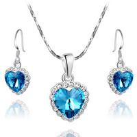 Fashion Zinc Alloy Jewelry Sets, earring & necklace, with Austrian Crystal, brass earring hook, with 2lnch extender chain, Heart, platinum plated, with Austria rhinestone & faceted, sapphire, 13x22mm,13x30mm, Length:Approx 18 Inch, Sold By Set