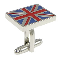 Zinc Alloy Cufflinks, Rectangle, platinum color plated, enamel & two tone, nickel, lead & cadmium free, 20x15x22mm, 21mm, 18mm, 4mm, Sold By PC