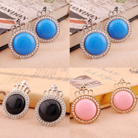Resin Zinc Alloy Earring, with plastic earnut & Resin & ABS Plastic, stainless steel post pin, Crown, plated, imitation pearl, mixed colors, nickel, lead & cadmium free, 22.5x30mm, 10Pairs/Bag, Sold By Bag