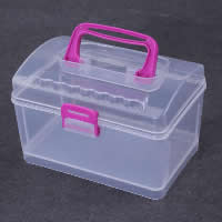 Storage Box, Plastic, Rectangle, transparent, white, 120x82x70mm, Sold By PC