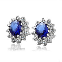 Cubic Zircon (CZ) Stud Earring, Zinc Alloy, with Cubic Zirconia, stainless steel post pin, Flower, platinum color plated, faceted & with rhinestone, blue, nickel, lead & cadmium free, 11x13mm, Sold By Pair