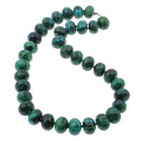 Chrysocolla Necklace, brass lobster clasp, Rondelle, 16x11mm, Length:Approx 18.5 Inch, Sold By Strand