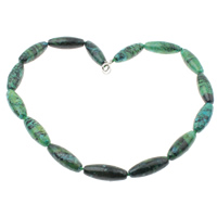 Chrysocolla Necklace, brass lobster clasp, Oval, 11x30mm, Length:Approx 18 Inch, Sold By Strand