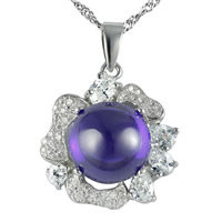Cubic Zirconia Sterling Silver Pendants, 925 Sterling Silver, with Amethyst, Flower, platinum plated, with cubic zirconia, 16x17mm, Hole:Approx 2-7mm, 3PCs/Bag, Sold By Bag