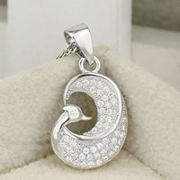 Cubic Zirconia Micro Pave Sterling Silver Pendant, 925 Sterling Silver, Bird, platinum plated, micro pave cubic zirconia, 11x17mm, Hole:Approx 2-7mm, 12PCs/Bag, Sold By Bag