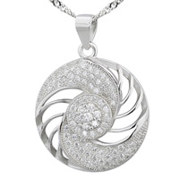 Cubic Zirconia Micro Pave Sterling Silver Pendant, 925 Sterling Silver, Flat Round, platinum plated, micro pave cubic zirconia & hollow, 21x24mm, Hole:Approx 2-7mm, 6PCs/Bag, Sold By Bag