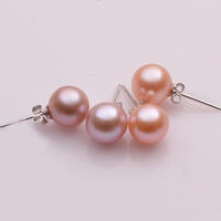 Freshwater Pearl Stud Earring, sterling silver post pin, Round, natural, different size for choice & Customized, mixed colors, 2Pairs/Bag, Sold By Bag