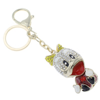 Enamel Zinc Alloy Key Chain, with iron ring, Duck, gold color plated, with rhinestone & hollow, multi-colored, nickel, lead & cadmium free, 27x132x29mm, Hole:Approx 24mm, Length:Approx 5 Inch, Sold By Strand