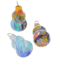 Millefiori Glass Pendants, with Iron, Calabash, handmade, mixed colors, 12x23mm, Hole:Approx 1.5mm, 200PCs/Bag, Sold By Bag