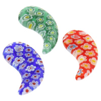 Millefiori Glass Pendants, Horn, handmade, mixed colors, 14x23x4mm, Hole:Approx 1mm, Sold By PC