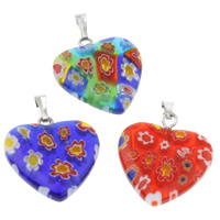 Millefiori Glass Pendants, with Iron, Heart, handmade, mixed colors, 20x27x3mm, Hole:Approx 1x5mm, Sold By PC